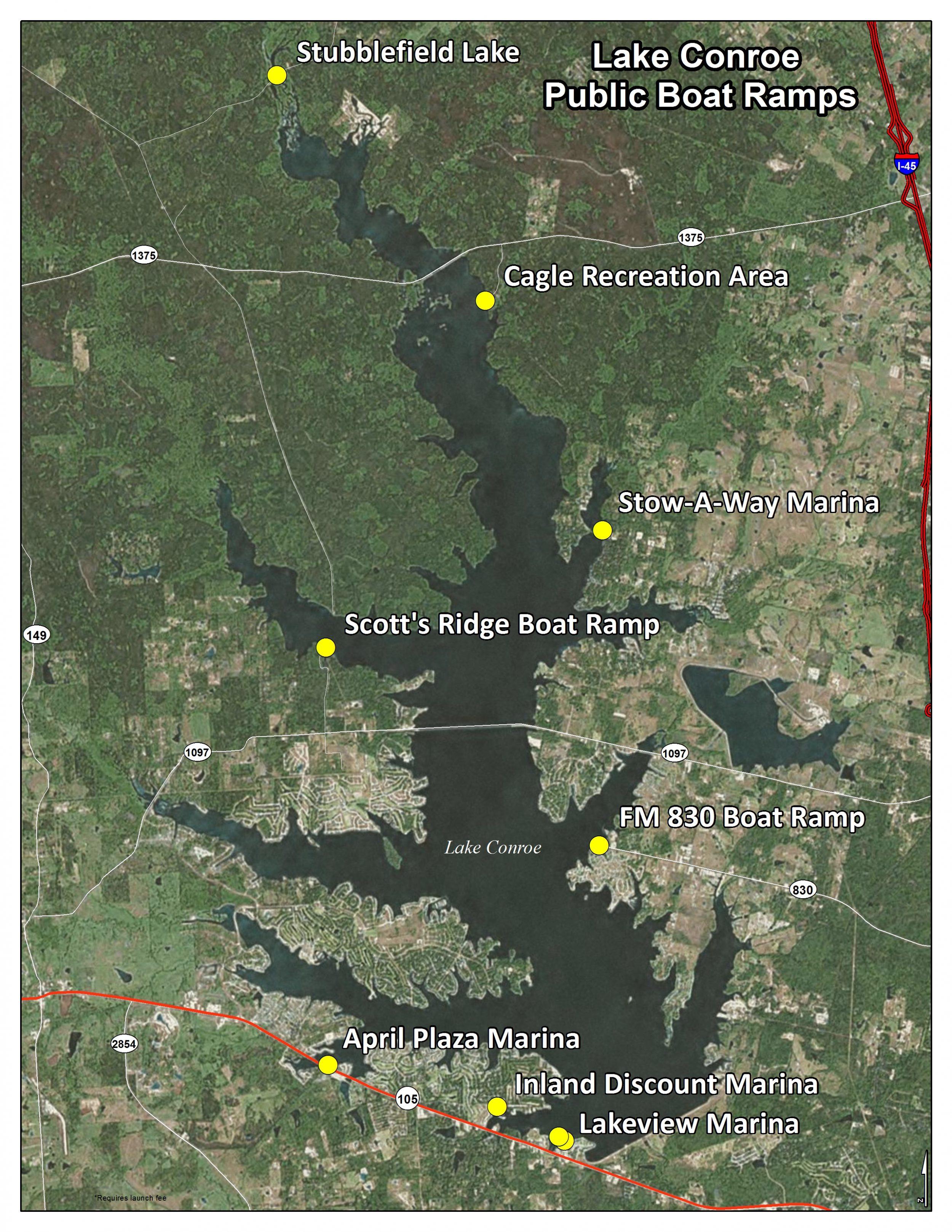 lake conroe texas map Public Boat Ramps On Lake Conroe San Jacinto River Authority lake conroe texas map