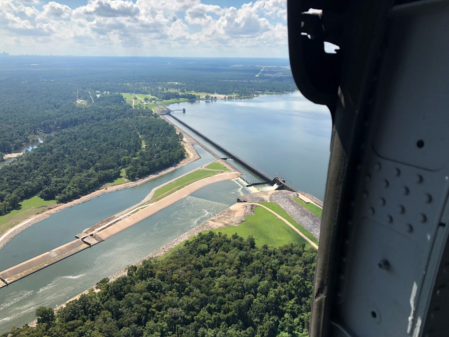 Spillway and gate at the Lake Houston Dam