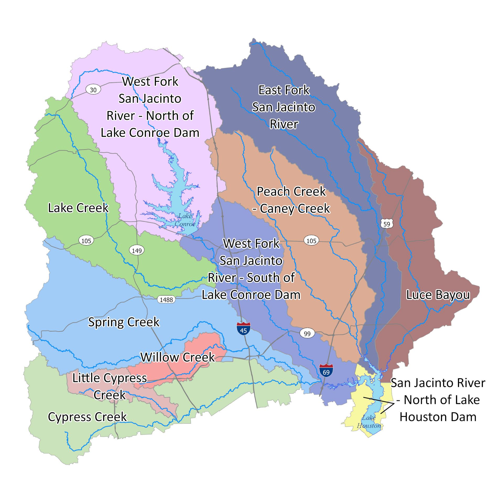 Upper San Jacinto River Watershed Map