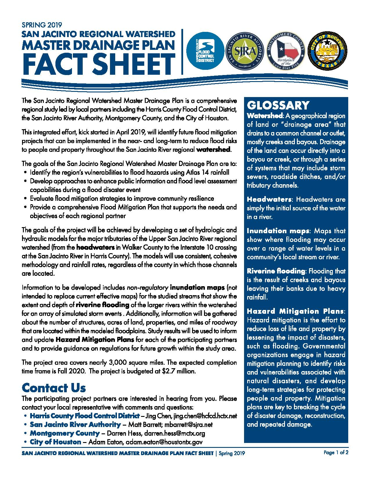SJ Regional Watershed Master Drainage Plan Fact Sheet_Spring 2019_Page_1