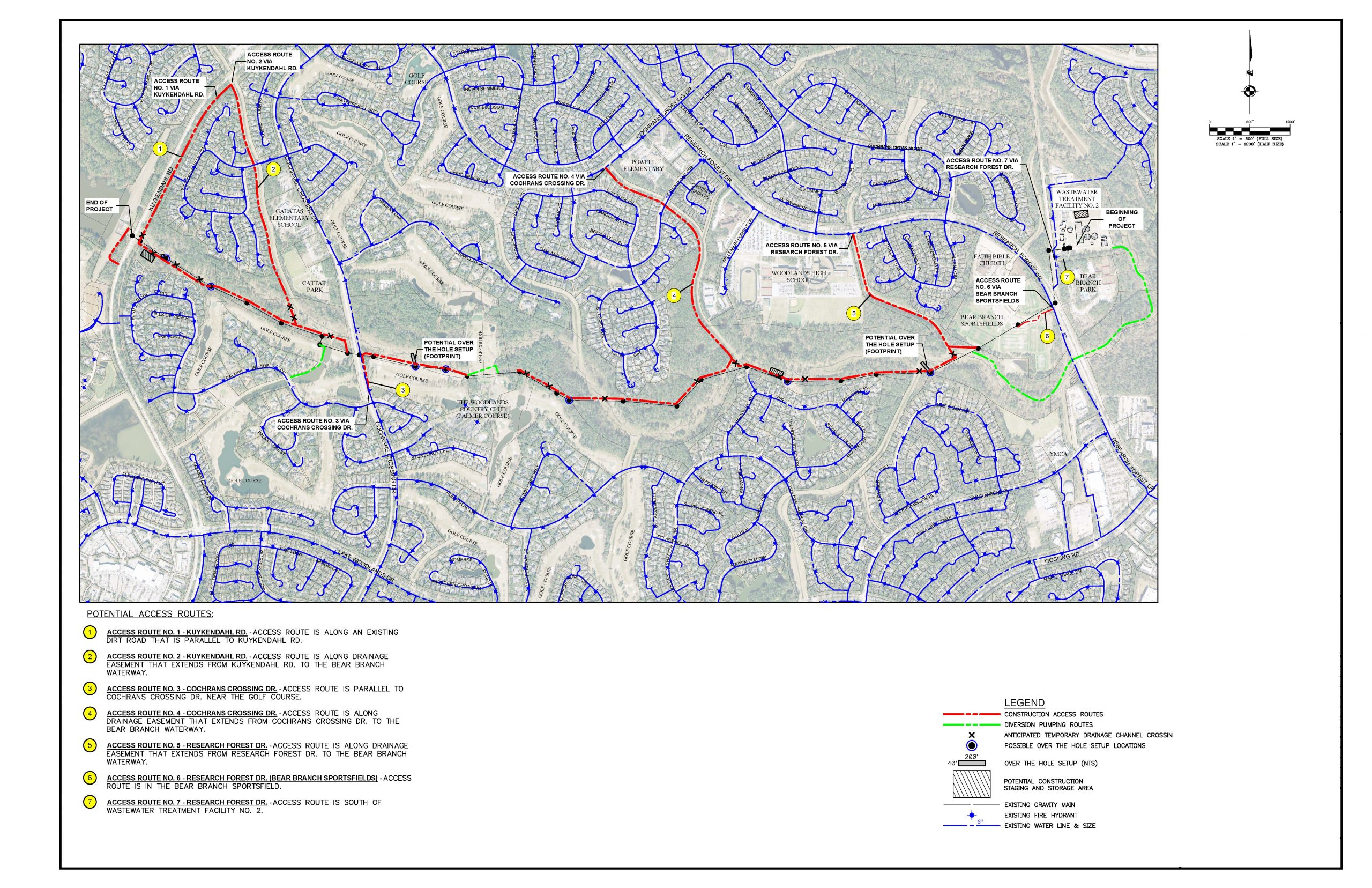 Rehabilitation of Bear Branch Gravity Main - Project Limits and Access Routes Map