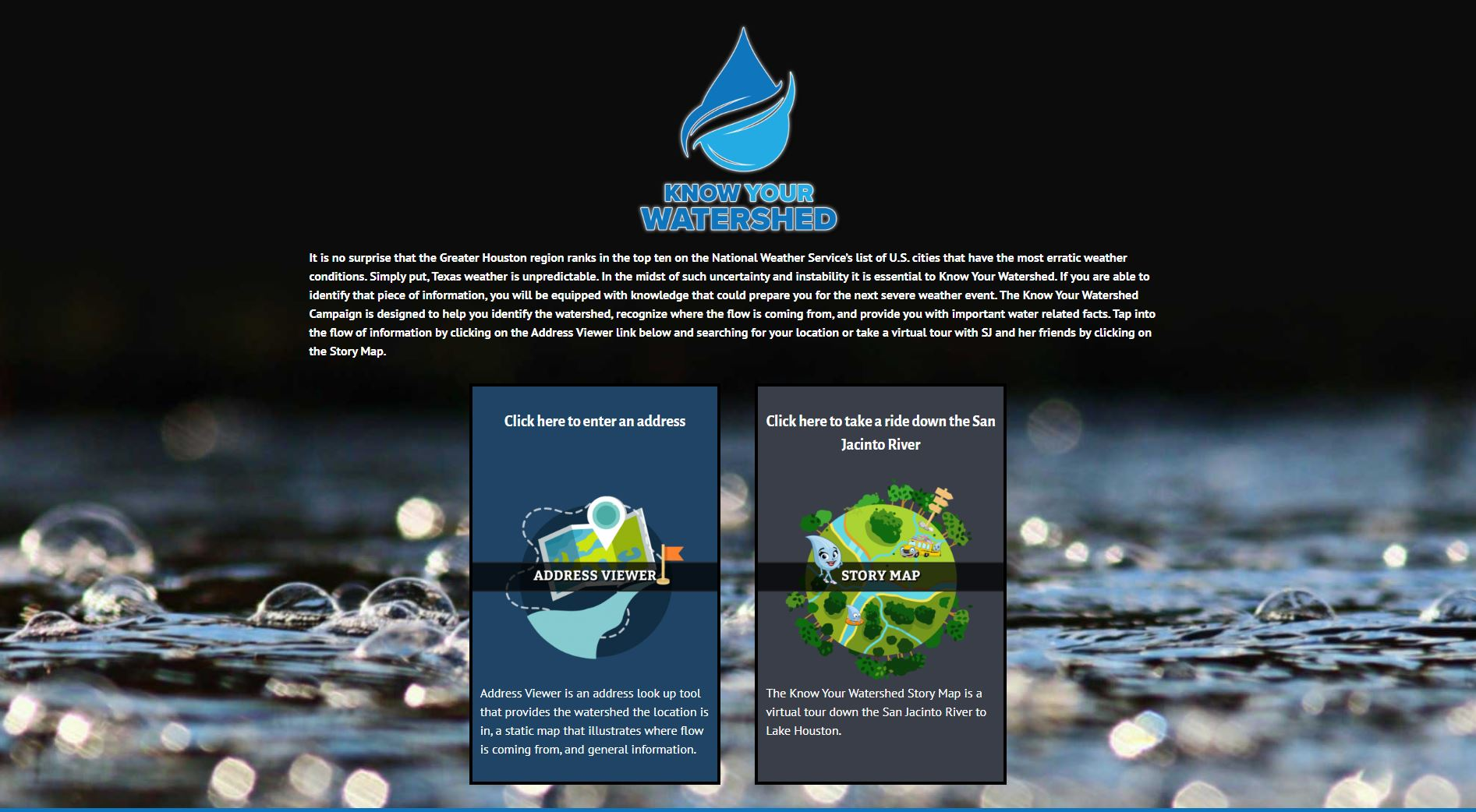 Know Your Watershed Landing Page