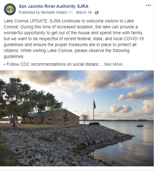 March 18, 2020 Observe CDC guidelines at Lake Conroe